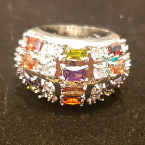 Brand new Multi Colored Stone Silver Ring size 6